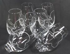 STEMLESS 6 Tall WINE GLASSES 16 oz  ROLY POLY Etched Abstract SEA CREATURE PLANT
