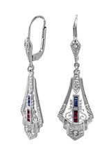 Art-Deco Ohrringe mit Rubinen, Saphiren und Brillanten