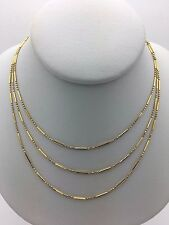 "New 14K Yellow Solid Gold 17"" 3 Rows Bar & Beads Link Chain Necklace 3.4 grams"