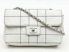 Authentic CHANEL Chain Shoulder Bag Leather White