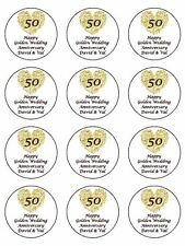"12 x Golden Wedding Personalised  2"" PRE-CUT PREMIUM RICE PAPER Cupcake Toppers"