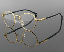 Retro Oval Gold Man Women Full Rim Eyeglass Frame Plain Glass Clear Spectacle A