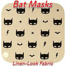 Batman Black Bat Masks on Natural Linen Effect Craft Fabric (Sold Per 1/2m)