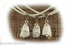 Howlite SP Wire Wrap Pendant Necklace A003-8 Leather Cord Grounding