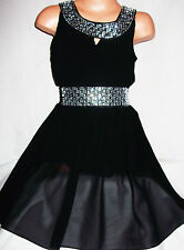 GIRLS BLACK DIAMONTE TRIM CHIFFON EVENING SPECIAL OCCASION PARTY DRESS age 4-5