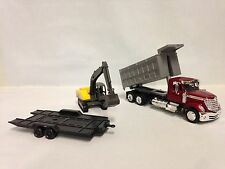 INTERNATIONAL LONESTAR, DUMP TRUCK w/EXCAVATOR 1:43 SCALE DIECAST NEW RAY TOY YL
