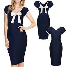 Womens Bodycon Party Evening Cocktail Office Formal Pencil Mini Dress Blue S