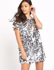 Size M New Motel MAUSI DISK SEQUIN MINI DRESS Silver