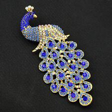 Elegant Fine Peacock Peafowl Bird Brooch Pin Blue Austrian Crystal Rhinestone