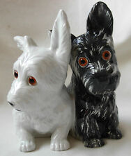 VINTAGE BLACK & WHITE PORCELAIN FIGURAL LAMP OF SCOTTISH TERRIER DOGS BY AEROZON