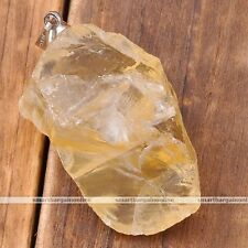 Natural Citrine Gemstone Healing Chakra Bead Pendant For Necklace Jewelry