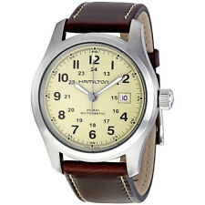Hamilton Khaki Field Beige Dial Brown Leather Automatic Mens Watch H70555523