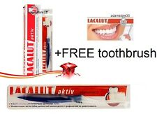 + FREE Toothbrush + LACALUT ACTIV aktiv MEDICAL TOOTHPASTE stops bleeding gums