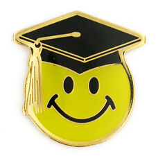 Smiley Face with Graduation Cap School Lapel Pin