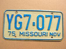 1-Vintage 1975 November Missouri license plate.Good cnd.Slightly bowed.Gd color.