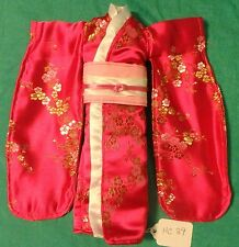 Rose Satin Kimono with Pink & Yellow Blossoms, White & Pink Obi for Barbie HC89