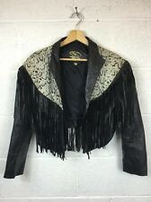 Vintage Black Cropped Leather Tassel Jacket Uk Size 8 / 10 Cowboy Snake Skin 29
