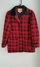 Vintage woolrich womens jacket buffalo plaid wool sz S red check black coat