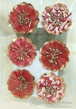 TIMELESS TRADITIONS PAPER FLOWER EMBELLISHMENTS NEW 6PC Red White Gold