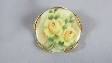 Vintage Yellow Rose Porcelain Hand Painted Brooch Pin Filigree Setting Gold Tone