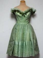 Vintage 50s Party Dress Green Organza XS Prom Cocktail Velvet Bows Off Shoulder