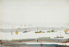 Framed LS Lowry Print - Estuary (Picture Painting English Artist Artwork)