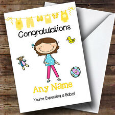 Single Brunette Mum To Be Expecting A Baby Personalised Pregnancy Greetings Card