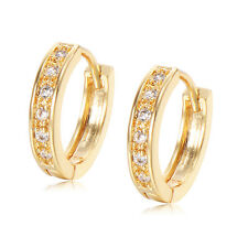 Crystal Small Hoop Huggie Earrings 18K GP Yellow Gold Filled earings Wholesale