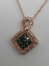 NEW 10K Rose Gold Green and White Diamond Cluster Pendant with Chain 0.25ct twt