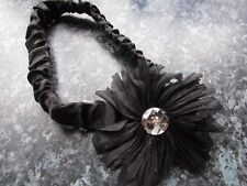 Black flower hair bandeaux ruched band fabric headband diamante hairband bling