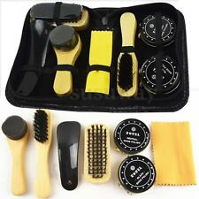 7 In 1 Black & Neutral Shoe Shine Polish Cleaning Brushes Set Kit In Travel Case