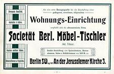 Societät Berliner Möbel-Tischler WOHNUNGS-EINRICHT.  Historische Reklame um 1910