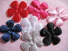 """35 Big 2 1/2"""" Padded Satin Spring Flower Appliques-7 colors AF102"""