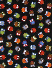OWLS SMALL on BLACK COLOR FABRIC by TIMELESS TREASURES 100% COTTON NEW REMNANT