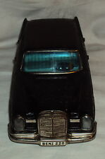 VINTAGE BANDAI FRICTION POWERED MERCEDESE BENZ 220 TIN PLATE TOY JAPAN 1960'S