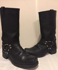 FRYE WOMAN SIZE 10M LEATHER HARNESS MOTORCYCLE USA MADE SQUARE TOE BOOTS 77300