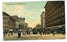 Winnipeg Manitoba MB -TROLLEY ON BUSY PORTAGE AVENUE- Postcard Canada
