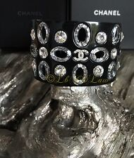 NWT 2016 CHANEL Black Cuff $2000 Clear Crystal Strass Jewel Bracelet Circle NEW
