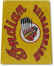 """TIN SIGN """"Indian Head Motorcycles"""" Oil Gas Metal Service Auto Shop Garage A438"""