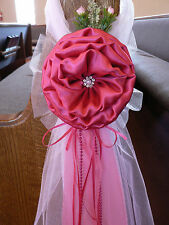 Fuchsia Hot Pink  Chair Bows, Pew Bows,  White, Church Aisle decor, Arch decor