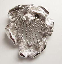 Vintage Signed KRAMER Brooch Pin Matte Brushed & Shiny Silver Brutalist Style