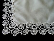 """GORGEOUS Antique Linen Hand Made Lace Tea Tablecloth 30"""" x 22"""" Runner Tray Cloth"""
