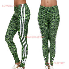 Green GANJA Strisce Leggings Soft - 8 - 12 UK, WEED Marijuana Hippy Yoga Fit