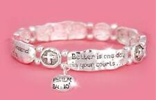"Psalm 84:10 ""Better Is One Day"" Religious Silver Charm Bracelet"