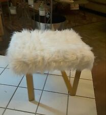 Faux Lamb Fur Bench Stool Shabby Chic Mid Century Style