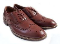 NEW FASHION MENS LACE UP WINGTIP OXFORDS CASUAL LEATHER LINED DRESS SHOES/ Brown