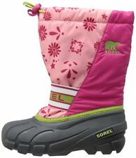 New SOREL Kids Cub Graphic 13 Snow Boots Shoes Grey/Pink Girl 6 youth