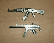 Two 1/18 Scale Mini Guns - Metal Model AK-47 Assault Rifle - MP5SD3 Machine Gun