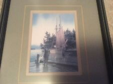 Framed and Matted Seascape Picture Safe Harbor Ship on Water