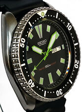 """Vintage mens SEIKO diver 6309 mod w/all NEON GREEN Plongeur & """"Stealth"""" SS hands"""